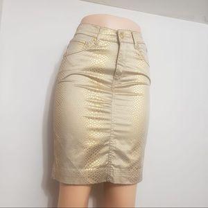 Roberto Cavalli Metallic Gold Scale Printed Skirt